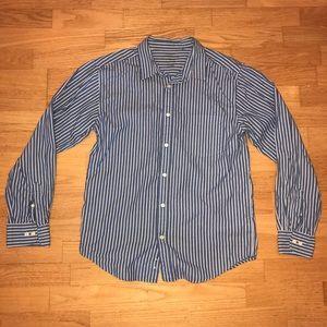 Faded Glory blue striped dress shirt boys xl 16/18